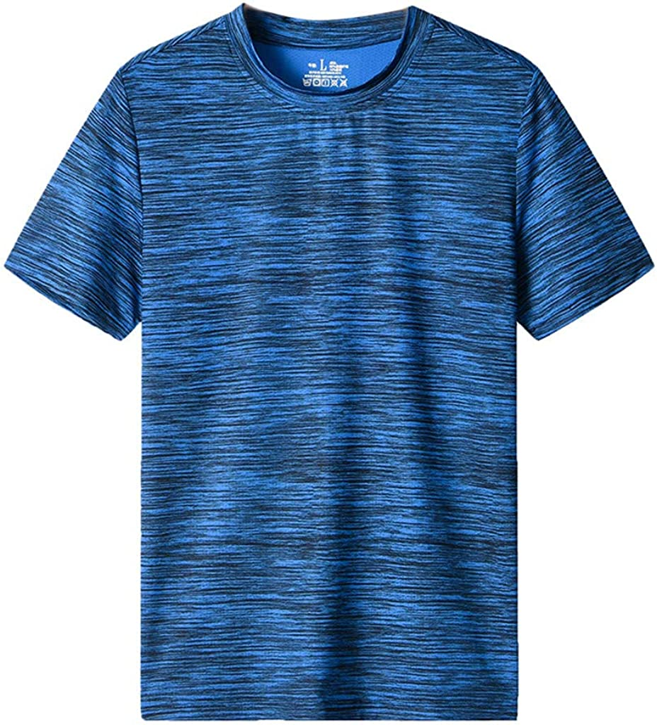 Giulot Mens Classic Regular-Fit Quick-Dry Sports Shirt Crew Neck Running Short Sleeve T-Shirt Tank Top