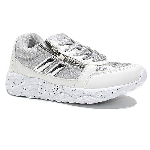 5e013091e5fce Original Marines Scarpe Bambina Bimba Ginnastica Sneakers Glitter Bianco  Grigio JSX15012