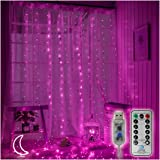300 LED Copper Curtain String Lights 9.8ftx9.8ft Window Icicle Fairy Lights USB Powered 8 Modes with Wireless Remote…
