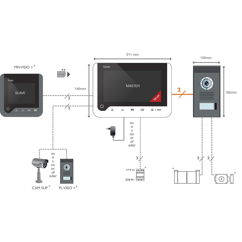 Extel ICE Visiophone 2 fils /à m/émoire de passage et effet miroir Blanc
