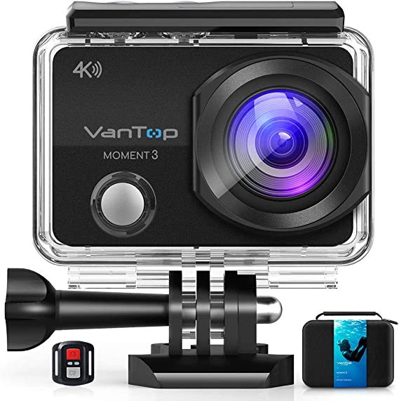 VanTop Moment 3 4K Action Camera w/Gopro Compatible Carrying Case