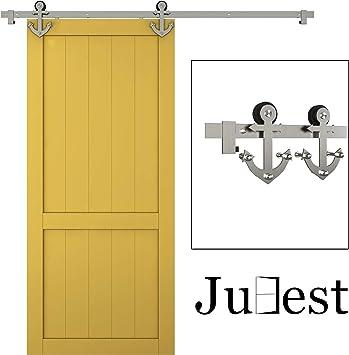 Kit de riel para puerta corredera de acero de níquel satinado con 1 raíl de 1,8 m, para anclaje: Amazon.es: Bricolaje y herramientas