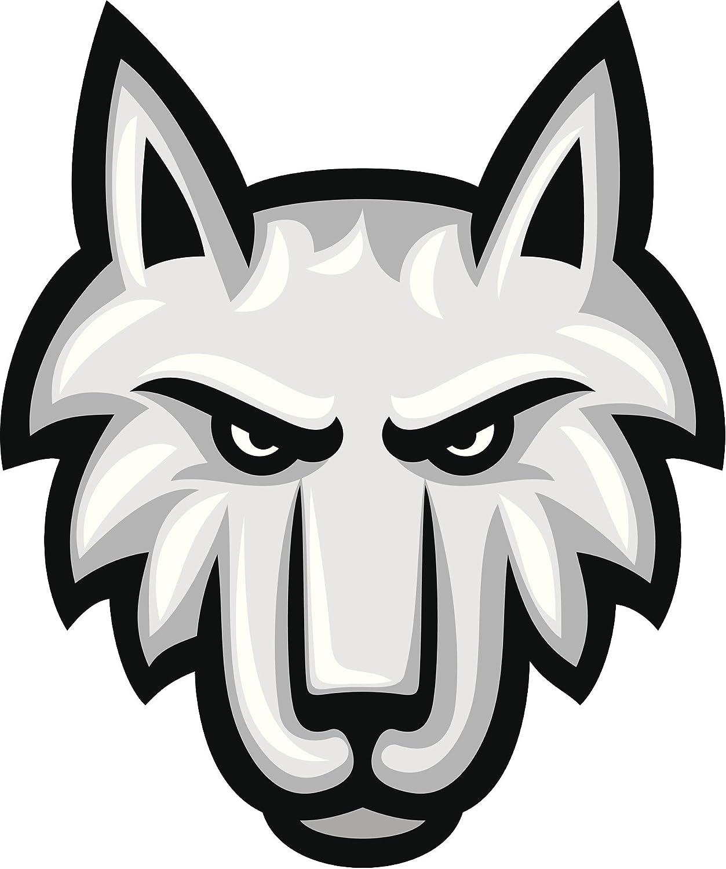 Amazon Com Simple Classic Sports Team Silver White Wolf Cartoon Vinyl Decal Sticker 4 Tall Automotive