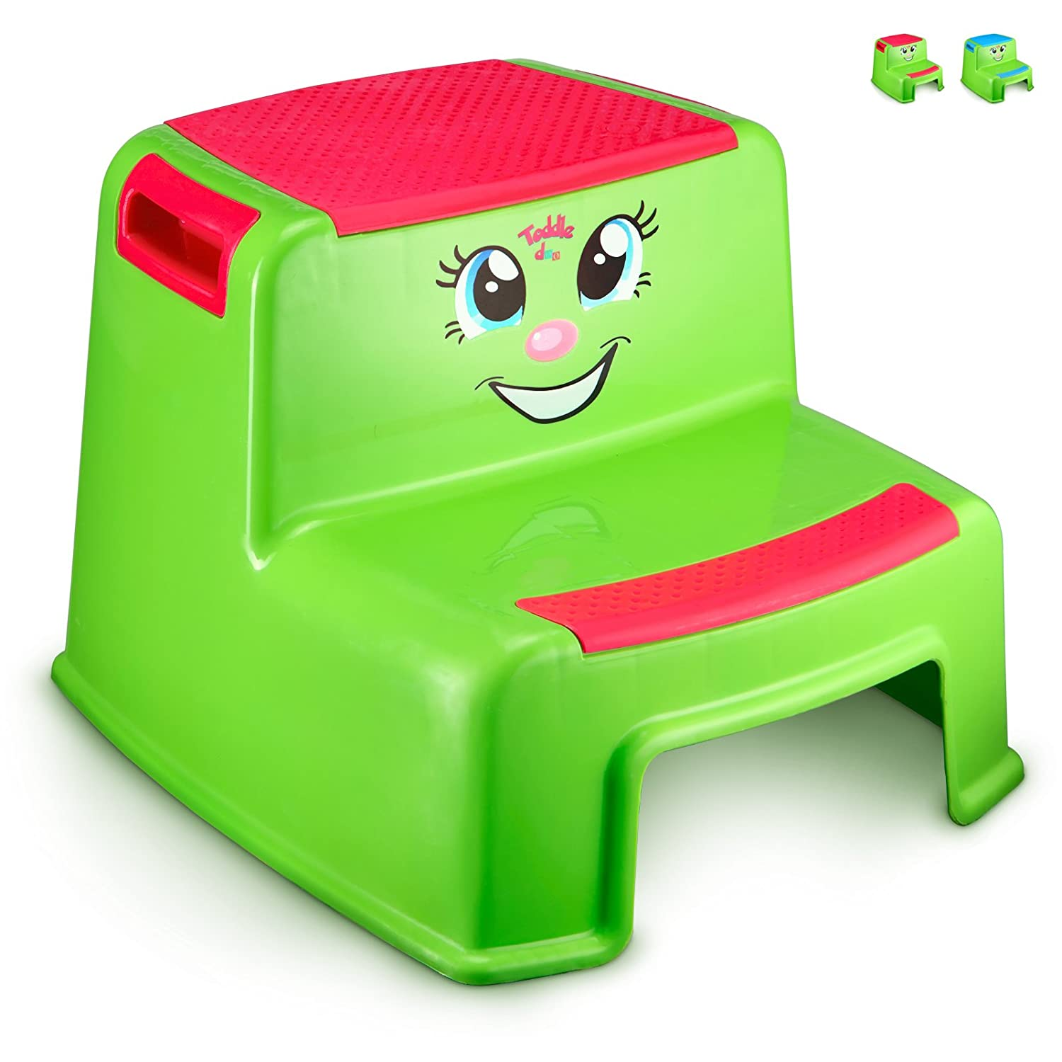 Step Stools for Kids - Toddlers Potty Step Stool for Toilet Training - Dual Height Two-Step Stairs Stool - Lightweight Cute Design for Use in Bathroom and Kitchen sink - Hot Pink Girls- By Toddle doo toddlestool-red-1