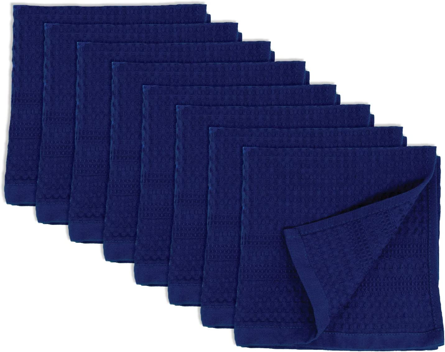 Gilden Tree Premium 4 Pc Washcloth Set 100/% Natural Cotton Quick Dry Waffle Weave Soft Luxurious Highly Absorbent Fabric Small Face Towel No Lint Fade Resistant Color Indigo