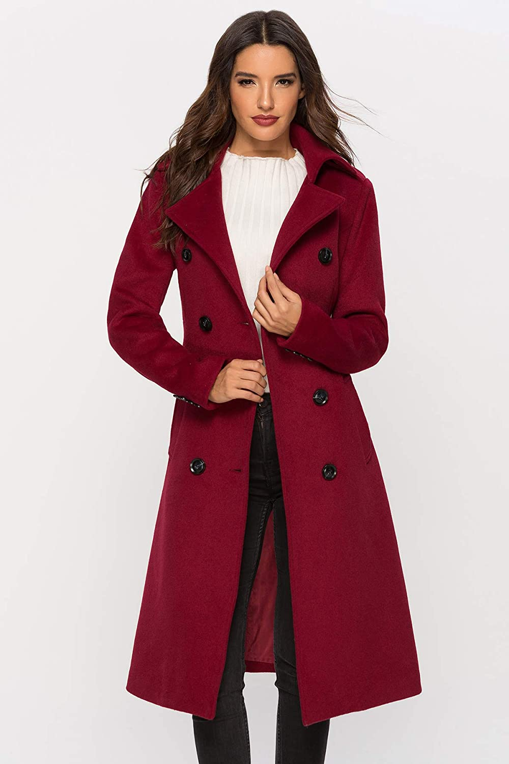 Escalier Womens Wool Coat Double Breasted Winter Long Trench Coat with Belt