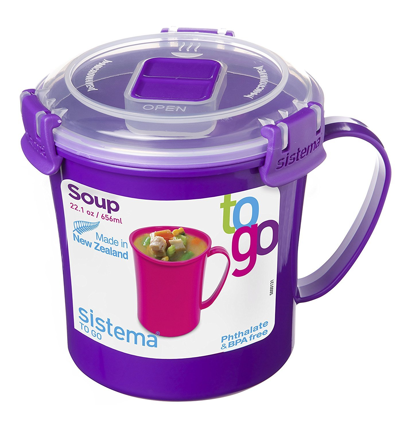 Sistema To Go Collection Microwave Breakfast Bowl, 28.7 Ounce/ 3.6 Cup, Assorted Colors 21112ZS