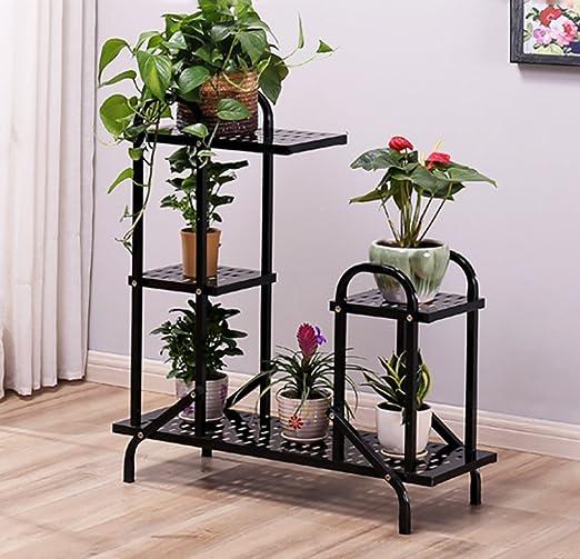 RBHJ Soporte de flor/soporte para plantas con 3 estantes, escaleras de planta, adorno, estilo antiguo, tamaño: 100 x 32 x 120 cm, color negro: Amazon.es: Jardín