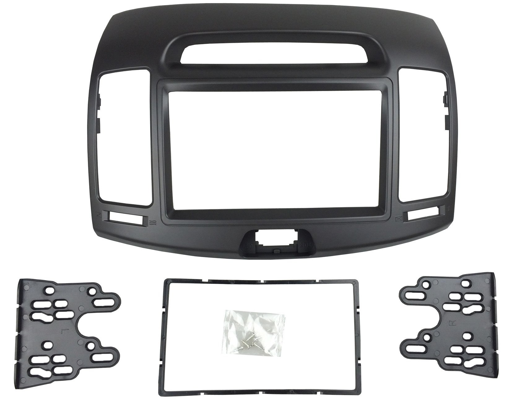 DKMUS Car Stereo Dash Radio Fascia Kit For 2006-2010 Hyundai Elantra (HD), Avante (HD) 2006-2010 Installation Trim Panel Frame Double Din (Black) by DKMUS