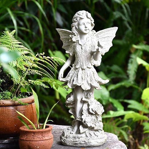Jardín Ángel Estatua Adornos Decoración Resina Vintage Escultura Antigua Césped Al Aire Libre Patio Patio Decoraciones Regalo De Inauguración: Amazon.es: Hogar