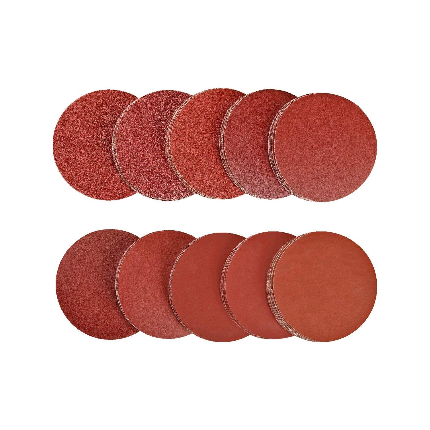 SPTA 200pcs 2 inch Sanding Discs Pad Kit for Drill Grinder Rotary Tools NO-Hole Aluminum Oxide Sanding Discs with Mix grit 40# - 2000#