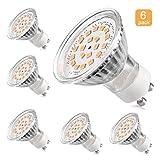 Ledgle GU10 20 Ampoules LED, Equivalent à Ampoule Halogène 50W, 3000K Blanc Chaud, 350 Lumens, Angle De Faisceau 120°, Lot De 6