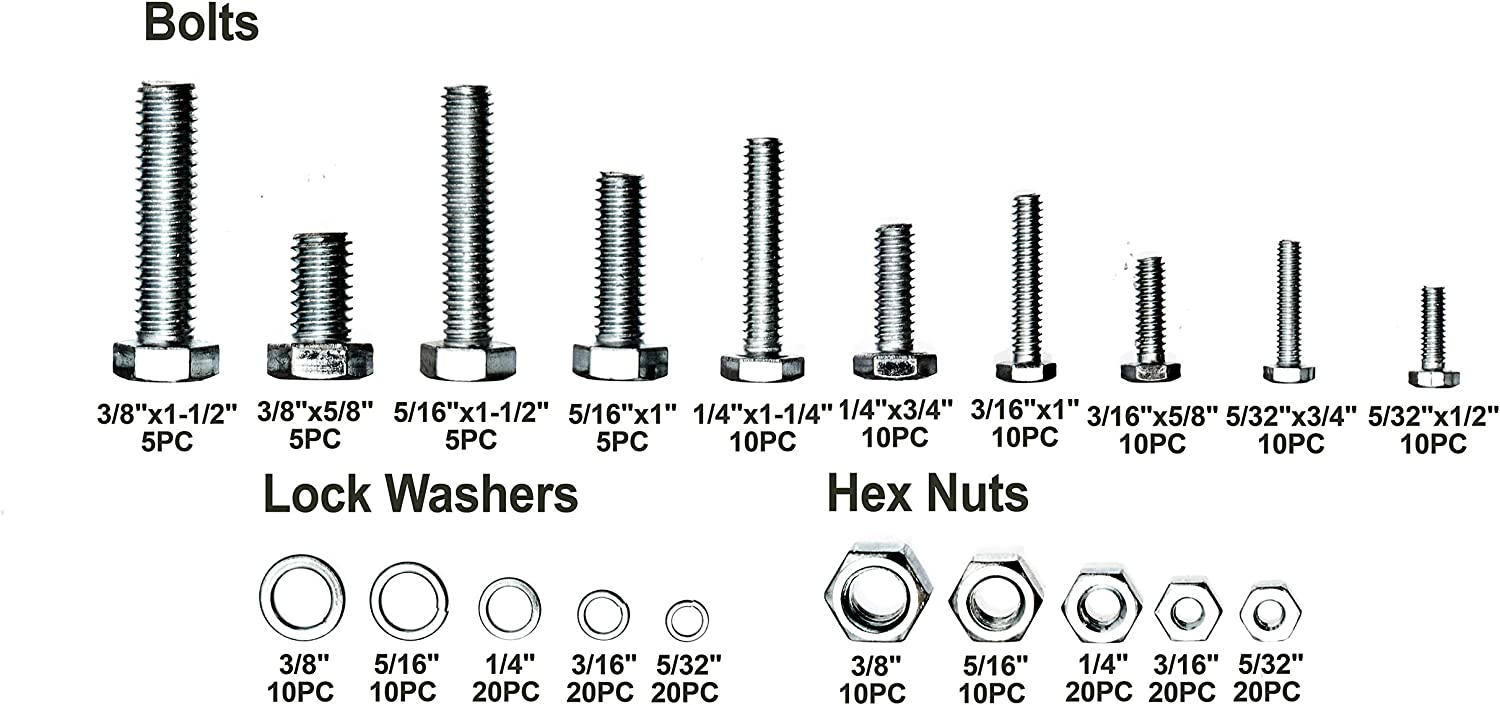 240 pcs Machine Bolts - inc Lock Washers and Hex nuts Brackit Bolts and Nuts Set