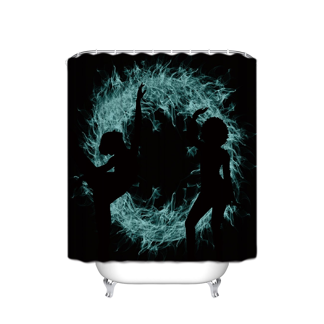 Prime Leader Lady Shadow Fire Dance Waterproof Bathroom Fabric Shower Curtain,36''(w) x 72''(h) with Hooks