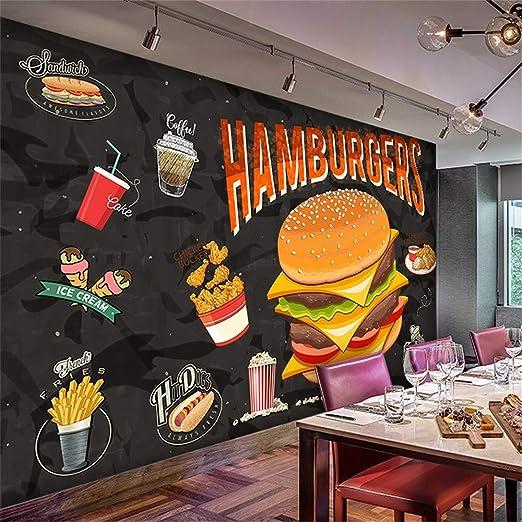 Sucsaistat Mural De Papel Tapiz 3D Hamburguesa Occidental Pollo ...