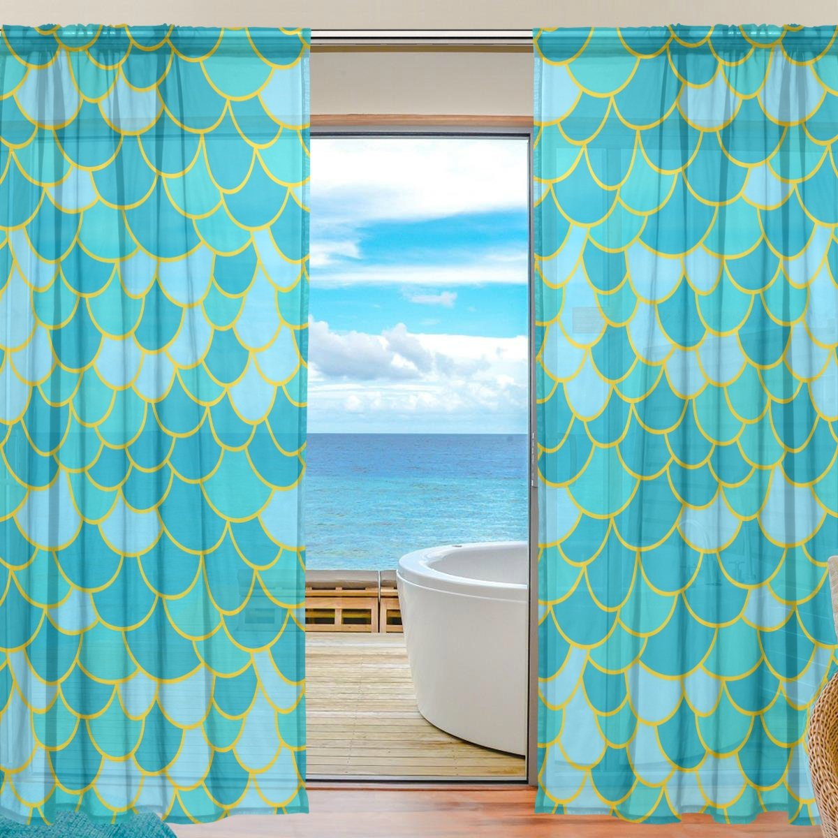 KALENDS Sheer Curtain Set for Living Room Bedroom Rod Pocket Tulle Fabric Ruffle White Window Treatment 52 W x 84 L 2 Panels
