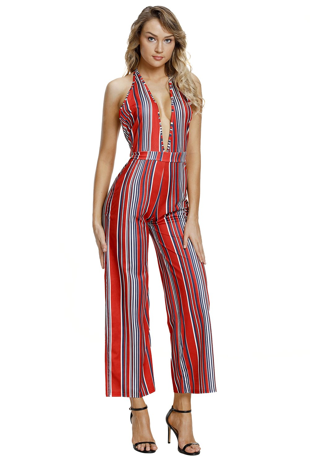 LittleLittleSky Women's Sexy Striped Deep V Neck Halter Open Back Wide Leg Jumpsuits Rompers ((US 4-6) S, Navy Red)