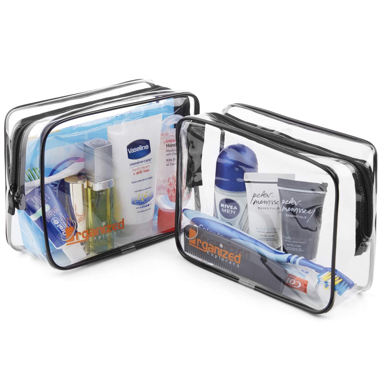 Handgepäck Flüssigkeiten Kulturbeutel Transparent – 2 Durchsichtige Flugzeug Beutel Handgepäck – Transparente Toilettentasche für Damen und Herren