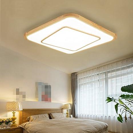 Lámpara LED de techo Sala Dormitorio nórdicos plafón Madera ...