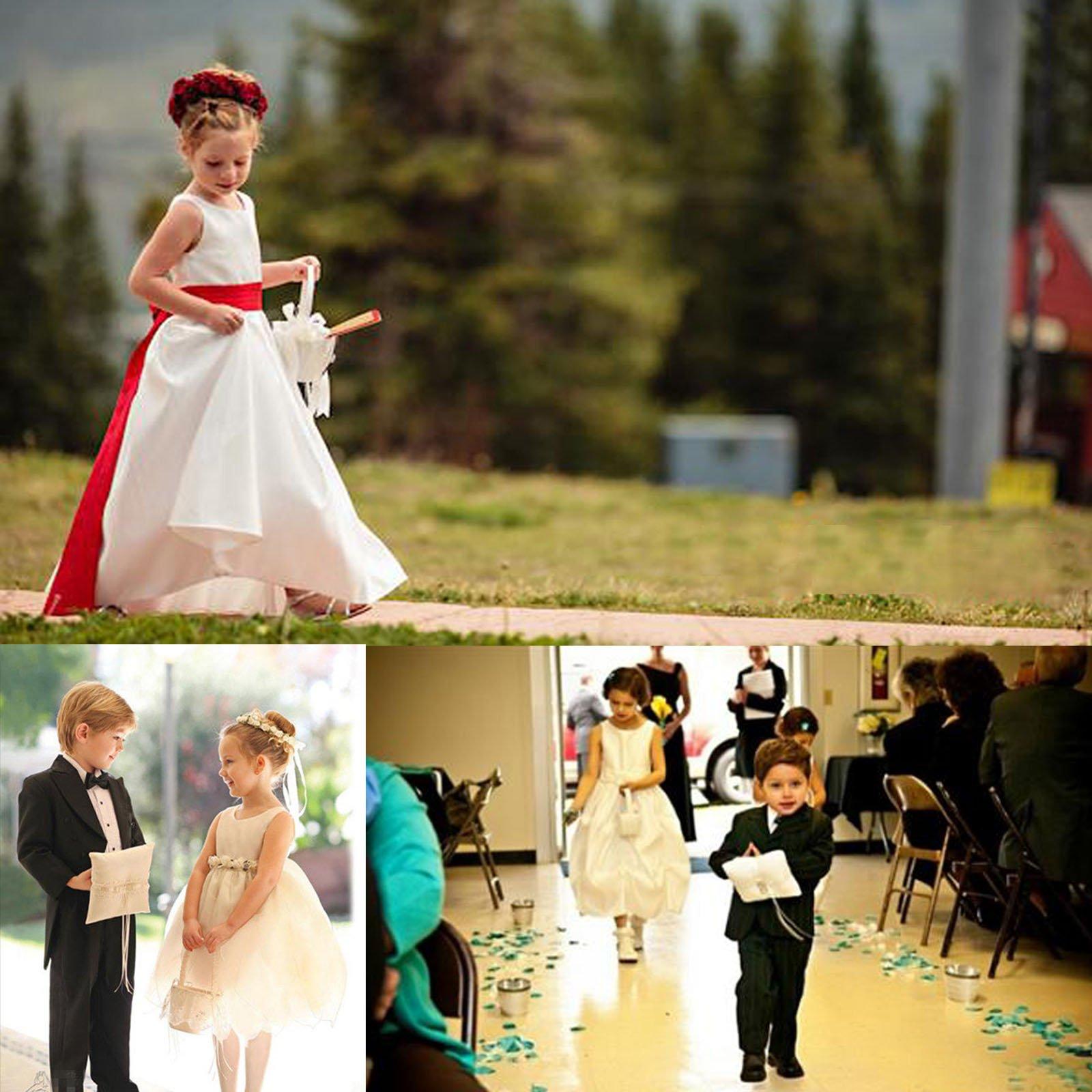 ARKSU 4pcs Wedding Sets Flower Girl Basket + Ring Bearer Pillow + Guest Book Pen + Pen Set Holder Rustic Bridal Wedding Shower Ceremony-Aqua Blue by ARKSU (Image #7)