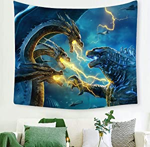 Macofcust Godzilla Tapestry, Movie Monster Theme Wall Hanging Decoration for Apartment Home Art Wall Tapestry for Bedroom Living Room Dorm 60 X 50 Inches