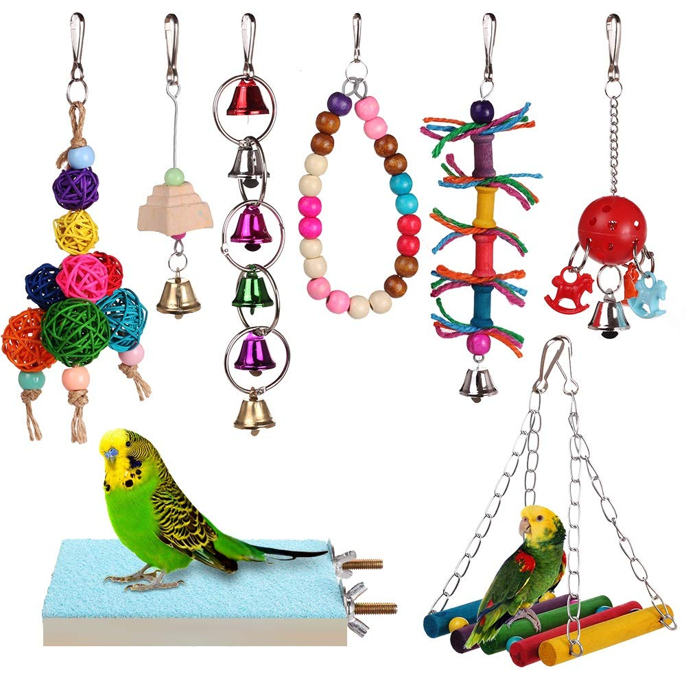HAPPYTOY Bird Parrot Toys 8pcs Play Set for Birds, Hanging Colorful Swing Chewing Toy Bells, Ladder Swing for Small Parrots, Macaws, Parakeets, Conures, Cockatiels, Love Birds by HAPPYTOY