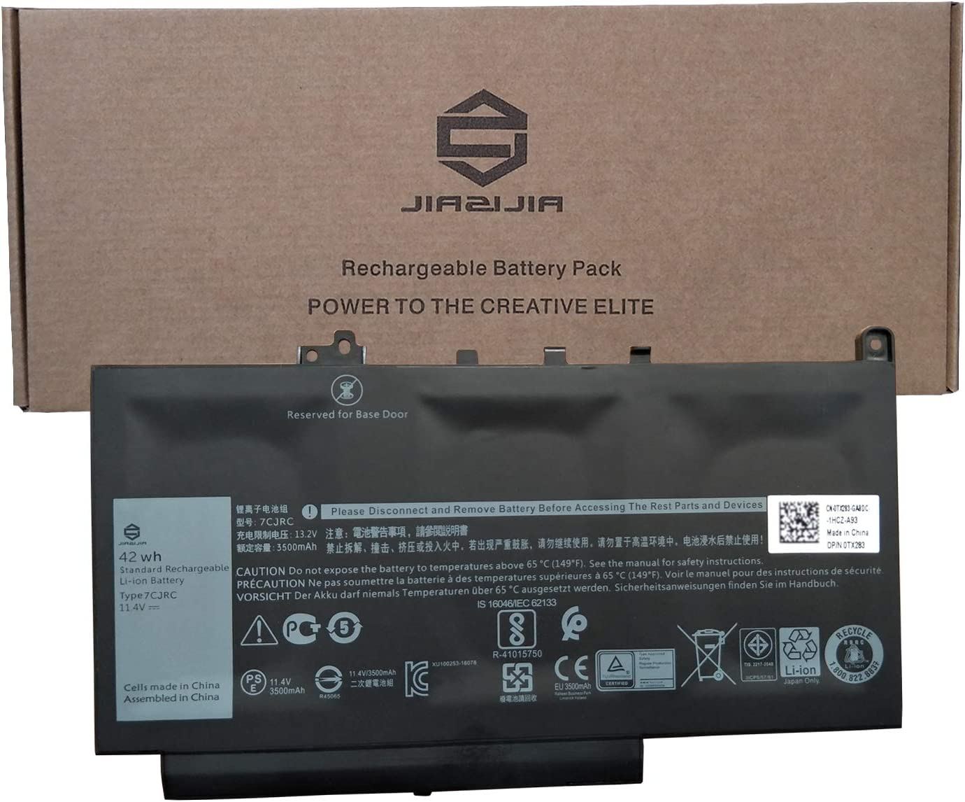 JIAZIJIA 7CJRC Laptop Battery Replacement for Dell Latitude 7470 7270 E7470 E7270 Series Notebook KNM09 0KNM09 21X15 021X15 TX283 0TX283 Black 11.4V 42Wh 3500mAh 3-Cell