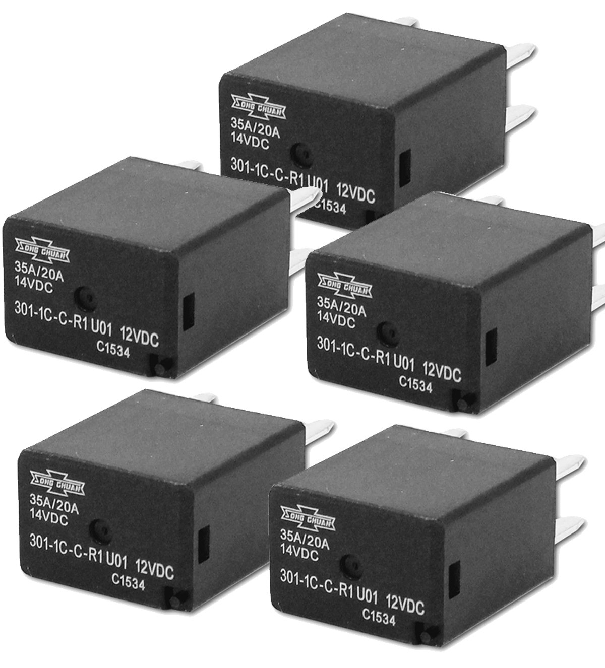 Automotive Relays SPDT 35A 12VDC (5 pieces) by Song Chuan (Image #1)