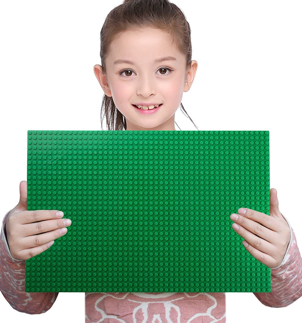 """Sawaruita Classic Green Baseplate Supplement 10"""" x 15"""" Building Bricks Sets Compatible with All Major Brands Kids Games"""