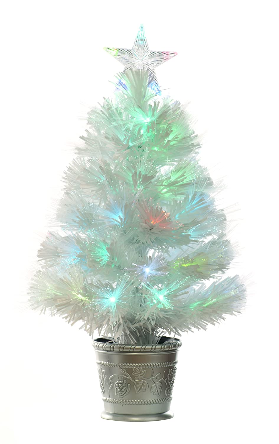 Festive 60cm White Fibre Optic Tree with multicolour LED Lights ...