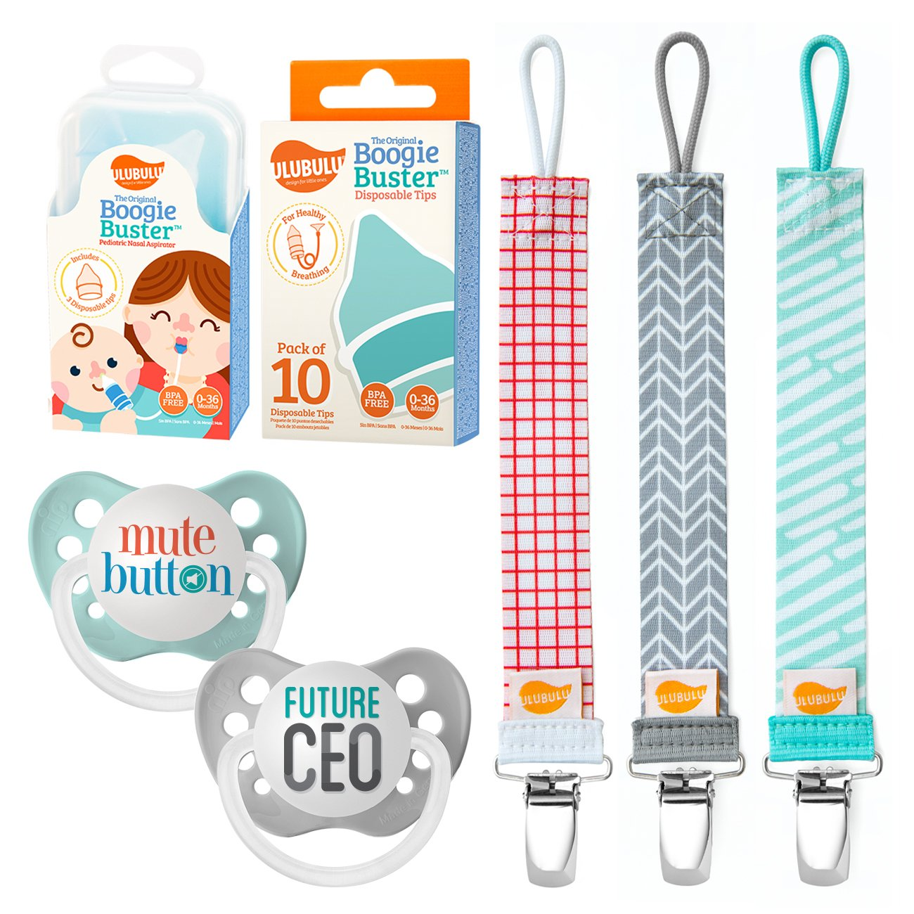Ulubulu Mute Button and Future CEO Designs/Pacifier Clip Combo/Nasal Aspirator Boogie Buster and 10 Disposable Tips, 6-18 Months by Ulubulu