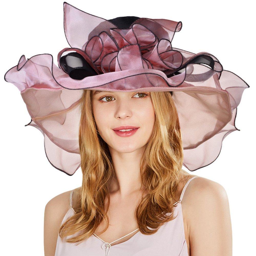 Women's Organza Hat Kentucky Derby Church Dress Bridal Tea Party Wedding Hat Sun Hat Cap