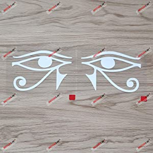 Pair White 4 Inches Eye of RA RE Horse Egyptian God Decal Vinyl Sticker Car Laptop Window - Mirror Images Reversed
