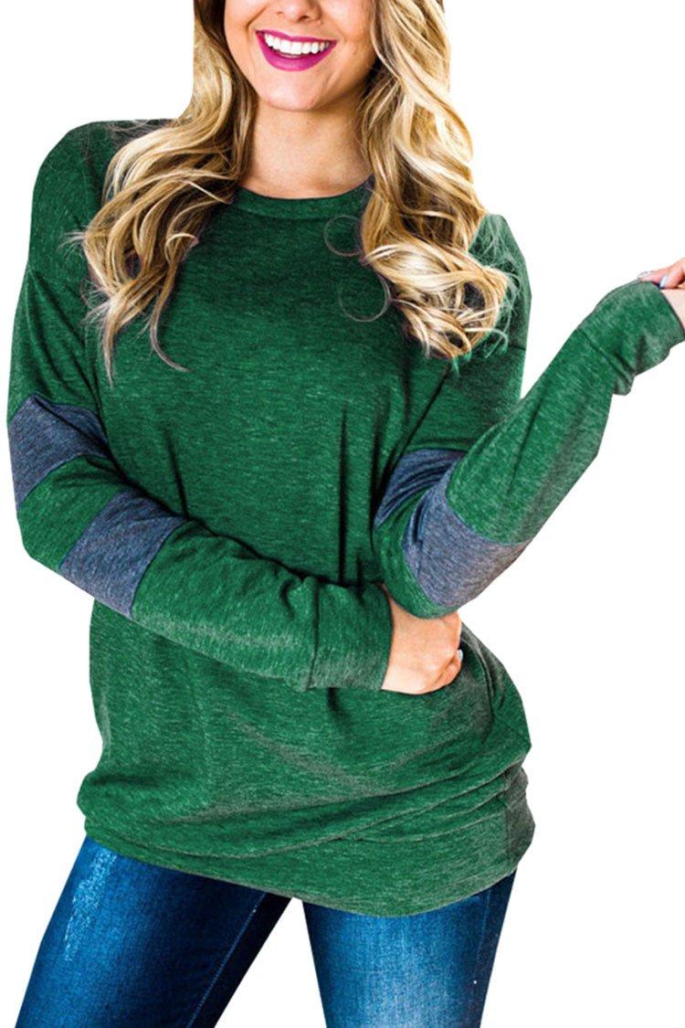 Kisscy Womens Casual Long Sleeve Crewneck Color Block Pocket Sweatshirt Blouse Tops L Green