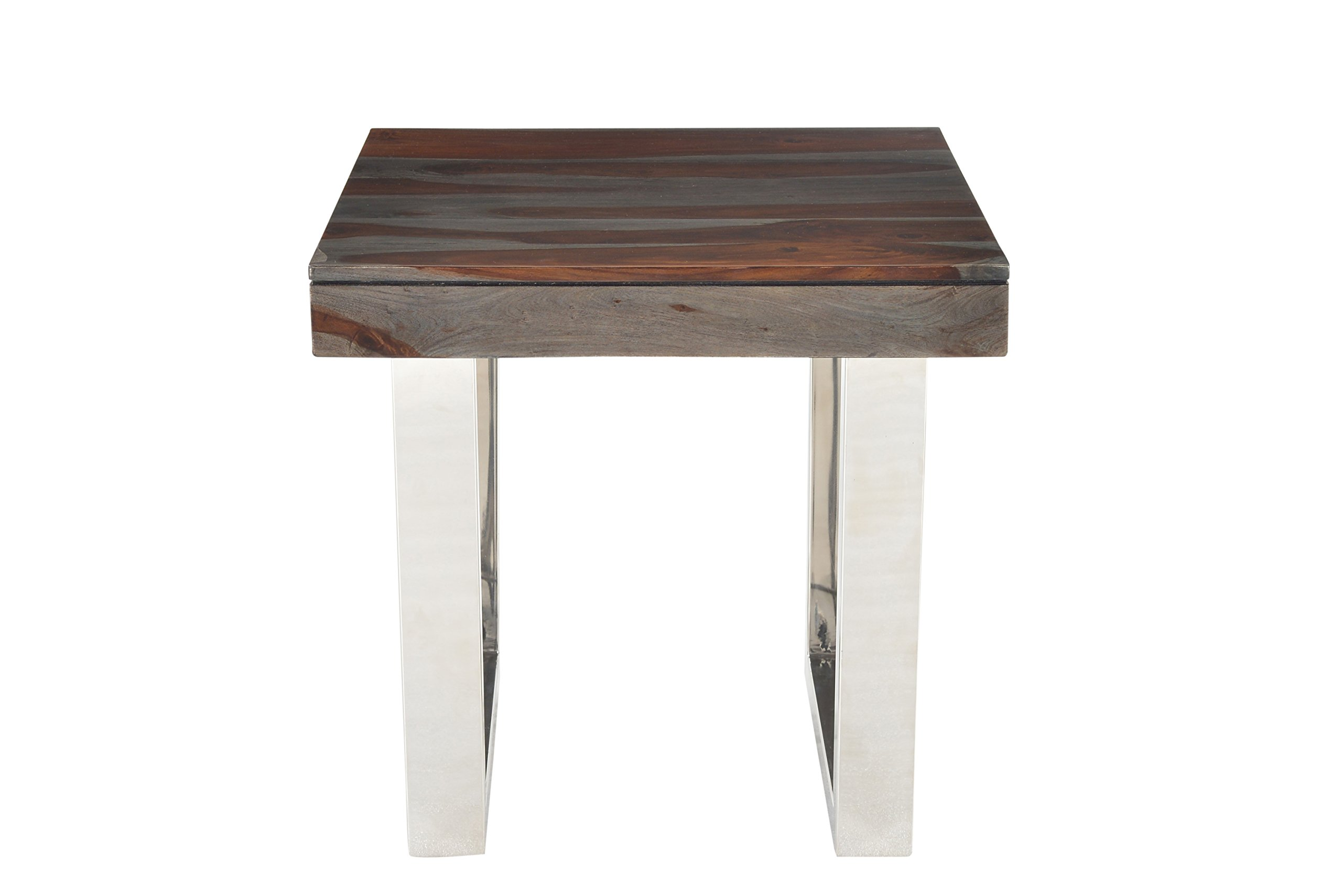 Treasure Trove Stainless Steel Base Grayson End Table, Grey and Red