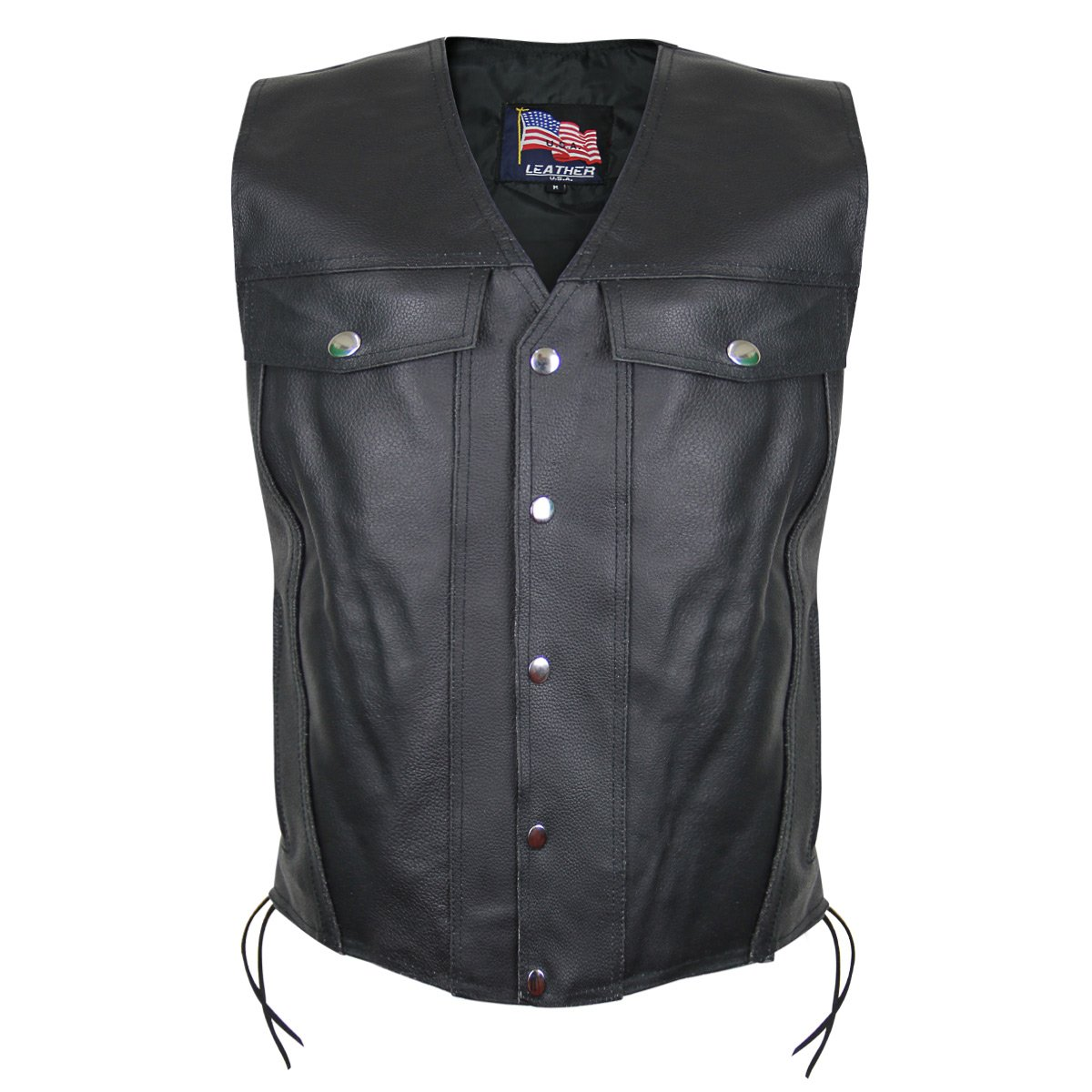 USA 1207 Leather Mens Undercover Gun Pocket Vest - 3X-Large