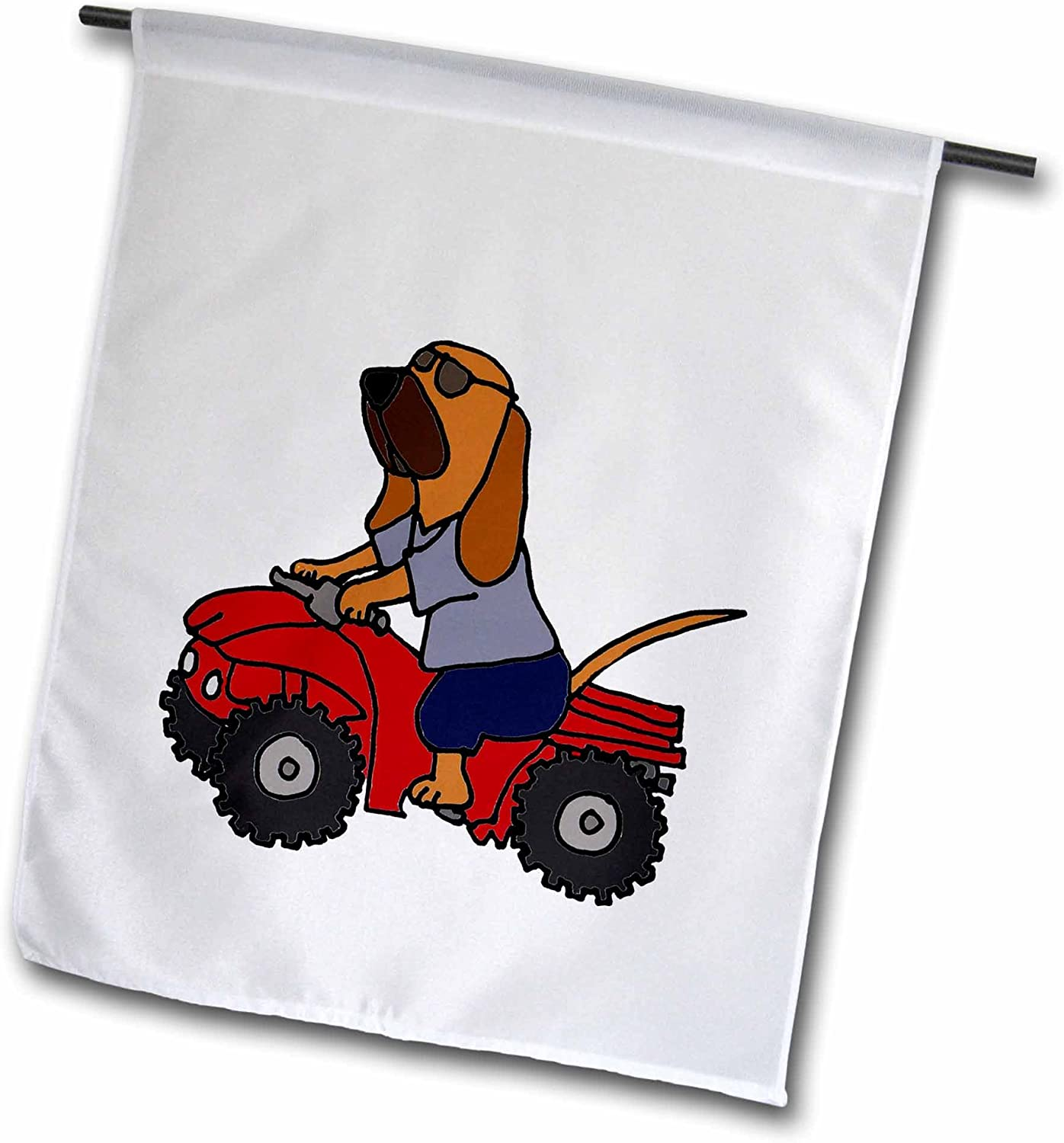 3dRose Funny Bloodhound Redneck Dog Riding Red ATV - Garden Flag, 12 by 18""