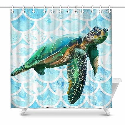 InterestPrint Unique Beautiful Sea Turtles Shower Curtain Home Decor Collection Bath Waterproof Fabric