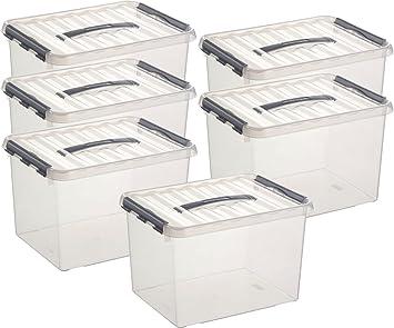 Unterschiedlich Aufbewahrungsbox - 6 Boxen à 22 Liter im Set / 40 x 30 x 26 cm mit  WO73