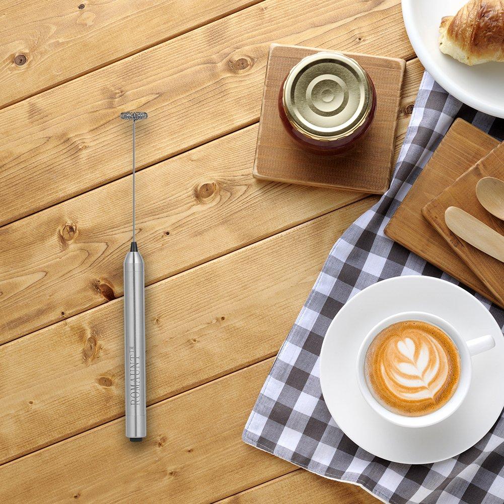 Batidora de leche portátil, ROMAUNT Batidora de batería portátil eléctrica Máquina de batidora de café para Latte Cappuccino Milk Foamer 304 de acero ...