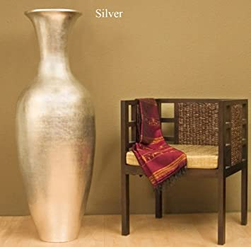 Amazon 60 In Classic Lacquer Bamboo Floor Vase Silver