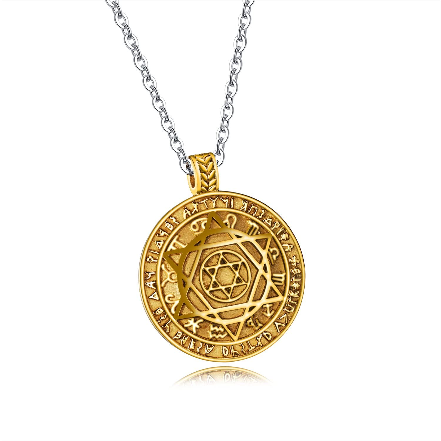 JAJAFOOK Mens Stainless Steel Talisman Seal Solomon Jewish Star of David 12 Constellation Round Tag Pendant Necklace with Chain