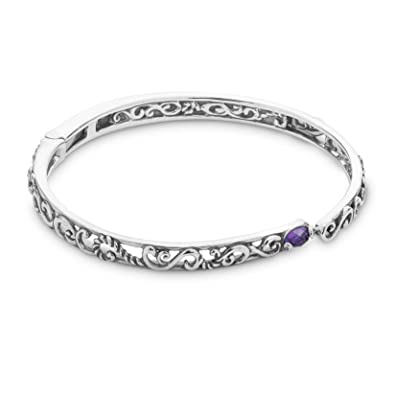 8e32bd3b621 Carolyn Pollack Sterling Silver Purple Amethyst Gemstone Filigree Hinged Bracelet  Size Small