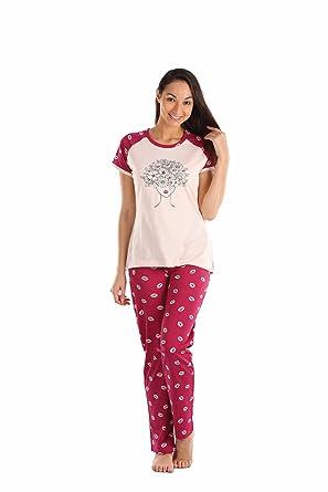 Lenissa Women s Cotton Printed Full Sleeve Night Suit Top and Capri Set  (Cream Maroon 6a914f800e