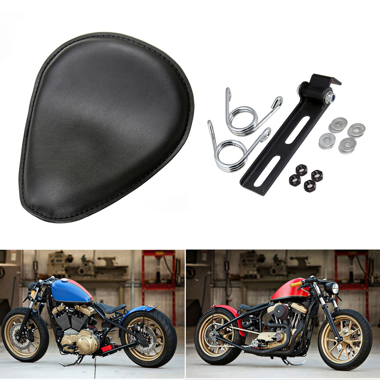 Ridgeyard Motorcycle Solo Seat with 3.5' Torsion Spring Bracket for Harley Davidson Sportster Bobber Chopper Custom Ridgeyard Co ltd