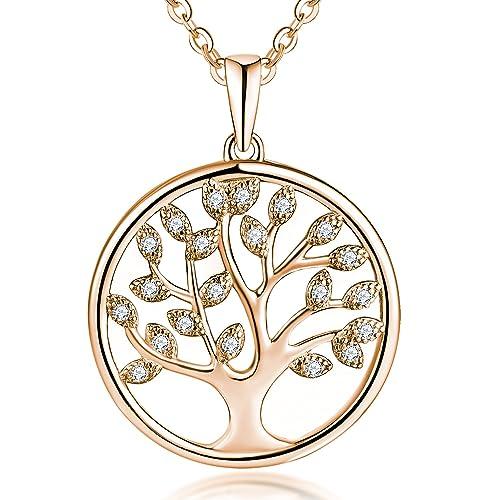 7f861d305cd679 YH collana albero della vita, Ciondolo Argento 925 Albero della vita  Ciondolo Collana da Donna