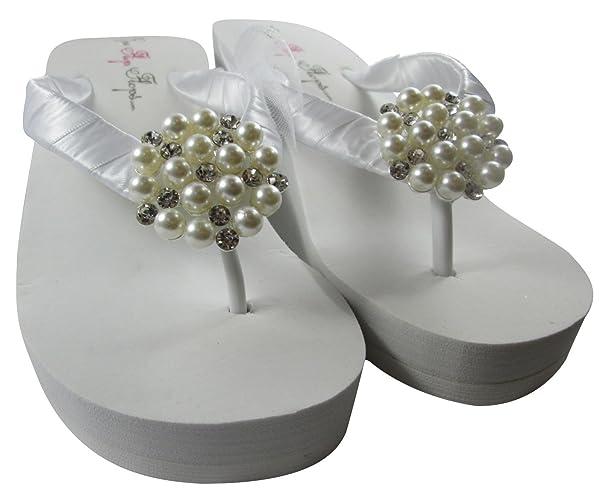232f18cef Amazon.com  High or Low Pearl Bridal Flip Flops  Handmade