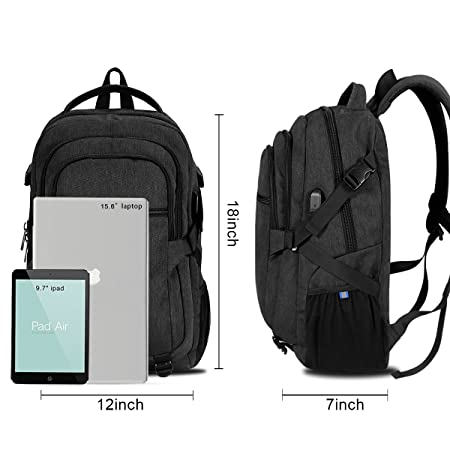 15.6 inch Laptop Backpack Men, Travel Water Resistant Backpack with USB Charging Port Multiple Pockets School Backpack, Durable Lightweight Computer Backpack for Men and Women, Black