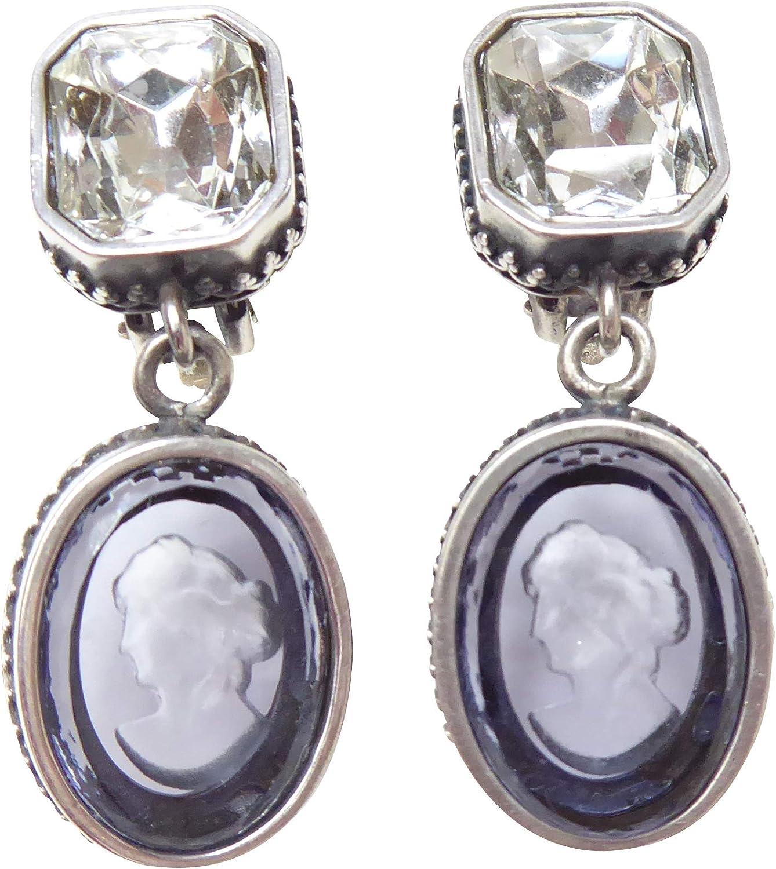Grandes gemmen de clips gemmen Clips de pendientes piedra forjada transparente, cristal con azul de lavanda colgante de Gemme Bronce Plateado Mano Extasia