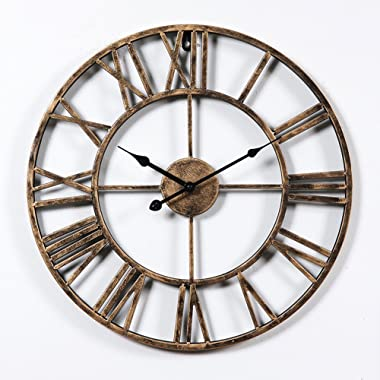 Aero Snail Vintage Retro 20-inch Dia Large Iron Metal Indoor Wall Clock with Roman Numerals ¡­